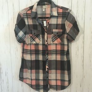 🌻 Pink/Gray Plaid Soft Flannel Shortsleeved Top